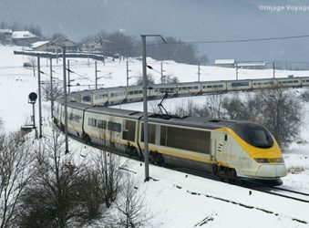 TGV train in snow, France