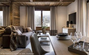 Typical interior of an apartment at the MGM Le Cristal de Jade luxury residence, Chamonix, French Alps