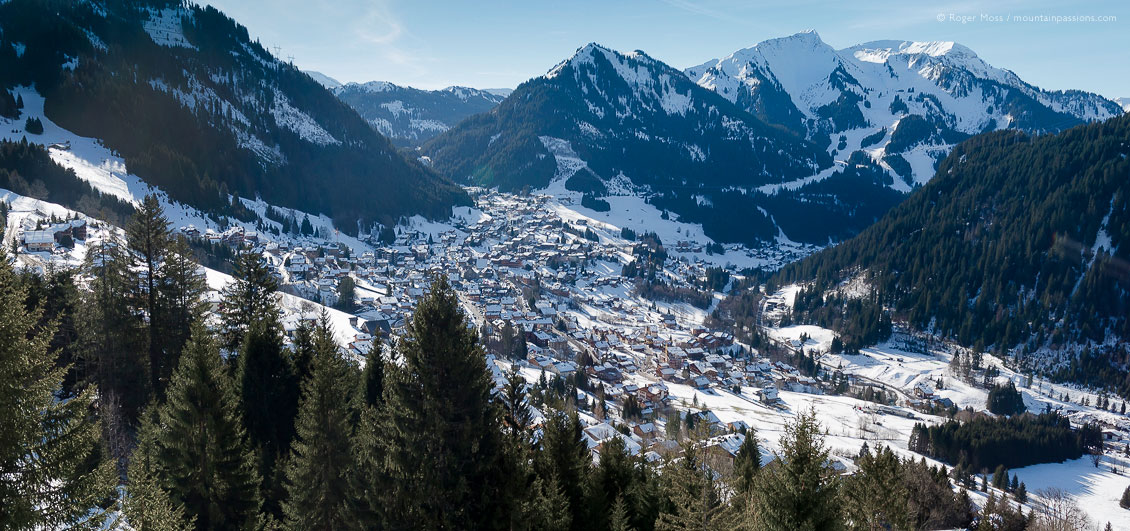 Overview of Chatel village and valley from ski lift