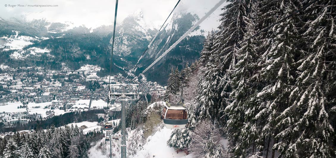 View from gondola ski lift of Samoens, Grand Massif, French Alps
