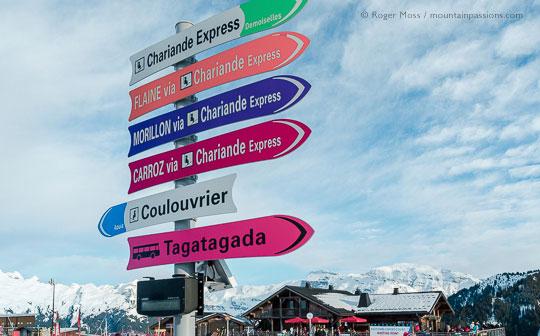Ski lift signage at Samoens 1600 ski area, French Alps.