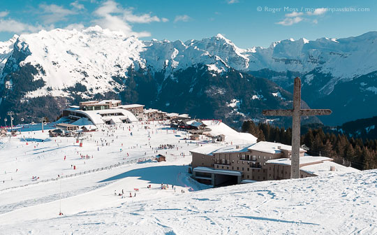 Wide overview of Samoens 1600 ski village, showing Club Med village, French Alps.