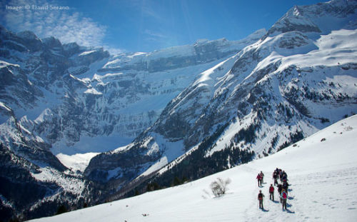 Guided snowshoe walkiers in the French Pyrenees Image © David Serano
