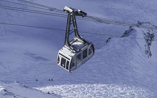 Grands Montets cable car, Argentiere, Chamonix Valley, French Alps