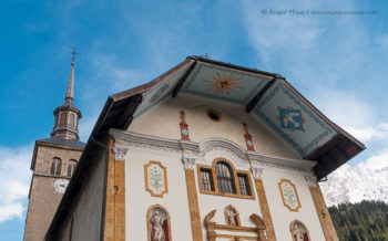 Low view of Baroque church decorated facade