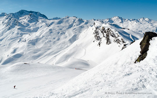 Skier on piste above Saint Martin de Belleville