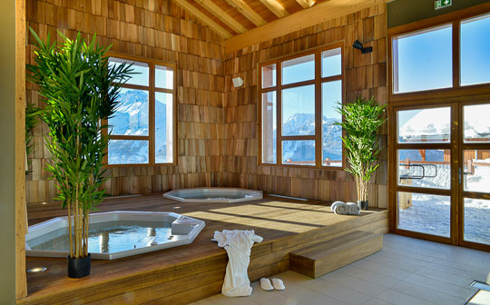 Jacuzzis in spa at Hyatt Centric LaRosiere, French Alps
