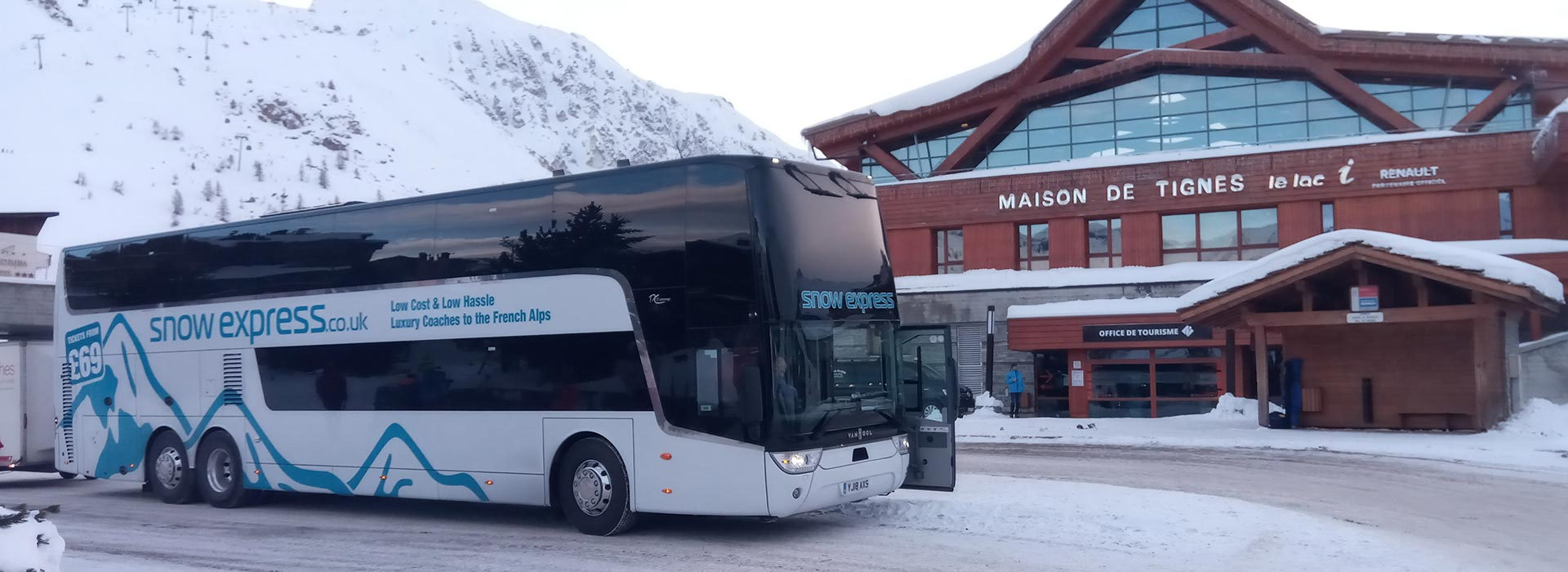 Snow Express coach at Tignes, French Alps