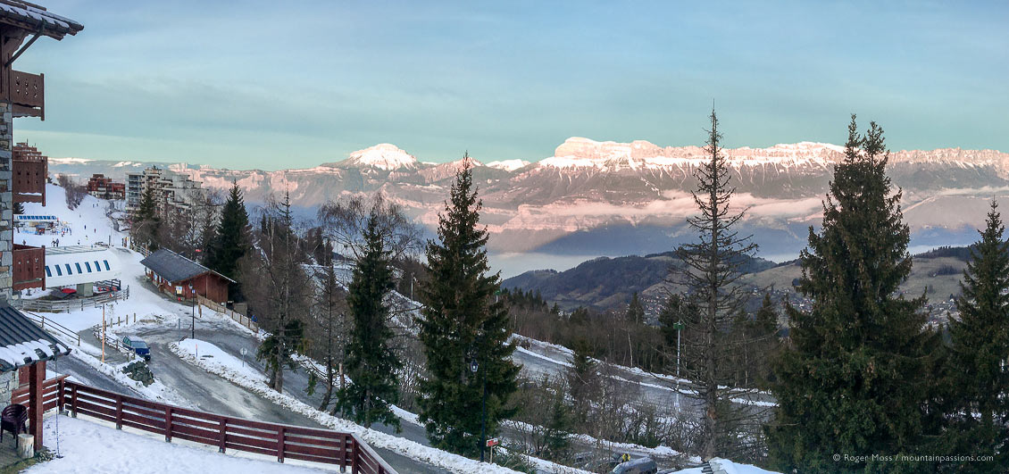 Early morning panoramic view of Prapoutel and mountains from ski apartment