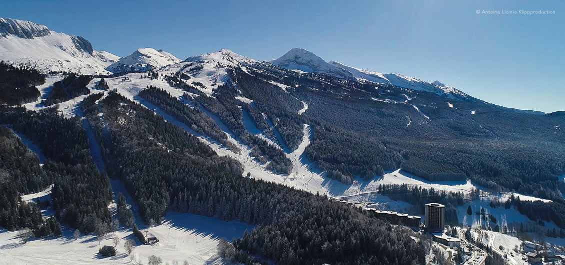 Wide view of ski pistes between snowy forests on mountainside