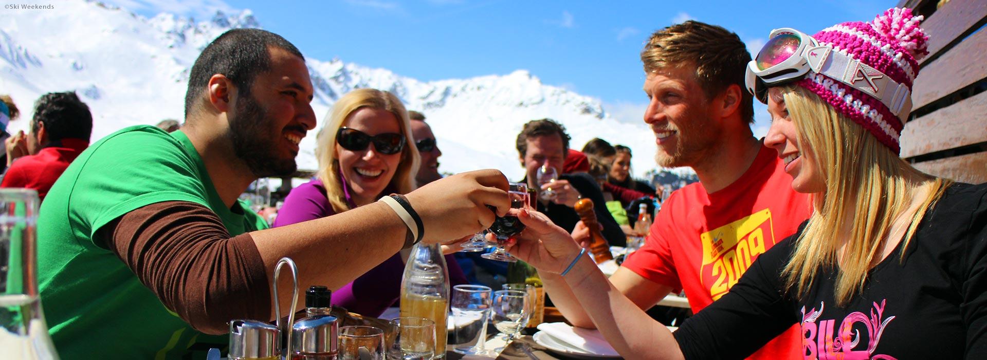 Alfresco lunch, short break ski holiday with freinds.
